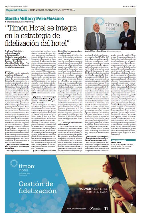 Timón Hotel en el especial Hoteles de Diario de Mallorca